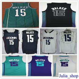 Wholesale color white jersey basketball - 2018 New City Edition #15 Kemba Walker Jersey Teal Green Purple White Color Cheap Mens Kemba Walker Stitched Basketball Jerseys