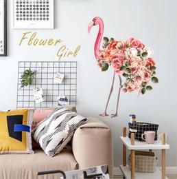 Paneles decorativos de pvc online-Pegatinas de pared adhesivas flamingo 3d Pegatinas de pared de PVC Pegatinas de pared decorativas armario WC moderno azulejo