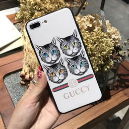 Wholesale Hard Case Cat Iphone - For iphone X case Luxury brand Print Four Cat Snake Mobile Shell case for iphone 7 7plus 8 8plus hard back cover for iphone 6 6S 6plus