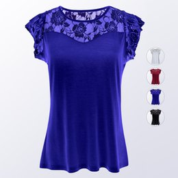 Encaje asiático online-Venta caliente de Asia Tamaño S a 3XL Mujeres Camiseta 2018 Slim Lace Stitching Lotus Leaf camiseta de manga corta para mujer Tops Ropa