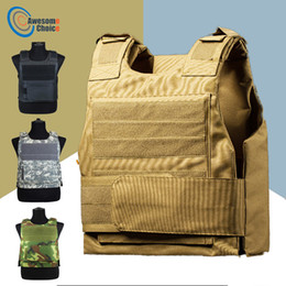 men tactical vest Promo Codes - Security Guard Anti-Stab Tactical Vest with two Foam Plate Miniature Hunting Vests adjustable shoulder straps