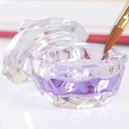 lavagem de cristal Desconto Nail Art Crystal Glass Dish bacia octogonal Cup com Cap Líquido Glitter Powder Caviar Rodada Wash Pen Água Cup coberto