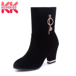 2019 botas de becerro de piel de invierno KemeKiss Plus Size 33-46 High Heel Women Boots Crystal Fur Calientes zapatos de invierno Mujer Tacón grueso Mid Calf Boots Zapatos de moda botas de becerro de piel de invierno baratos