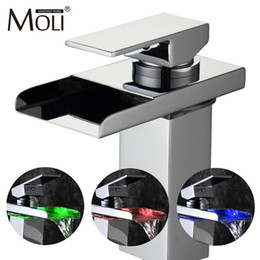 Wholesale Tap Waterfall Spout - Free shipping soild brass chrome finish bathroom faucet led waterfall washbasin faucets square spout tall tap mixer