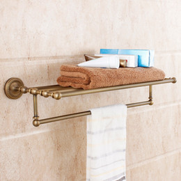 Wholesale Rack Mount Accessories - 2015 Sale New Toallero Fashion Bathroom Copper Retro Vintage Antique Finishing Double Layer Towel Rack Brass Accessories Glove