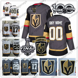 Wholesale green blue gold - Custom Vegas Golden Knights 2018 Stanley Cup Gray White Fleury Neal Any Number Name #17 Sewn 2017 Inaugural Season 100TH Patch Jersey S-4XL