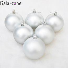 silberzone Rabatt Gala-zone 6 Teile / los 4 CM 6 CM Weihnachtsbaum Ball Flitter Xmas Party Hängende Verzierung Silber Matte Bälle Neues Jahr Liefert