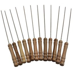 Wholesale Galvanizing Steel - 12pieces set Barbecue Stainless Steel Skewers Roasting Needle Wood Handle Freeshipping BBQ Tools