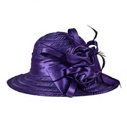 Abiti i cappelli per la chiesa online-Cappello da donna con cappello a tesa larga da donna Lady Kentucky Derby Church