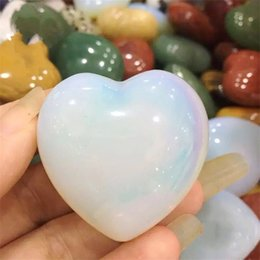 Ювелирное искусство онлайн-Природный порошок Кристалл резьба по камню ремесло энергетические цвета персик форма сердца полу драгоценный камень грубые камни любовник Gife искусства и ремесла 28yt jj