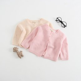 cute girls cardigans cotton Promo Codes - Everweekend Baby Girls Knitted Candy Color Sweater Cardigans Pink Beige Color Cute Children Fashion Spring Autumn Jackets