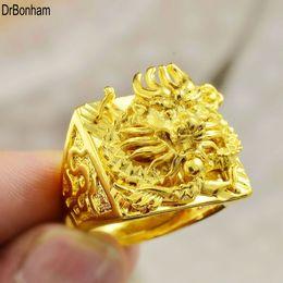Chinesische goldringe online-Hip hop 24 Karat Gold Drachen Design fingerring Chinesischen Drachen Ring Band Ringe für Frauen Männer Liebhaber Ehering