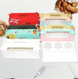 Wholesale plastic muffin boxes - Oblong Shape Baking Packing Box Cartoon DIY Muffin Cake Boxes Multi Color New 0 58yd Z R
