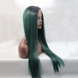 Wholesale Glueless Full Lace Wig Synthetic - Fashion Straight full wig Ombre Synthetic Lace Front Wig Glueless Two Tone Natural Black Dark Green Heat Resistant Fibr Front Lace Wigs