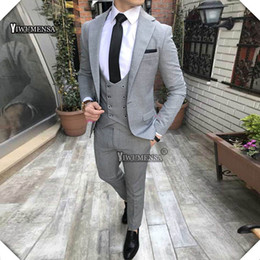 53943435c76 yiwumensa tuxedo Luxury Grey Men Suits With Pants Wedding Suits For Man  Custom made 3 pieces terno masculino slim fit Groom suit