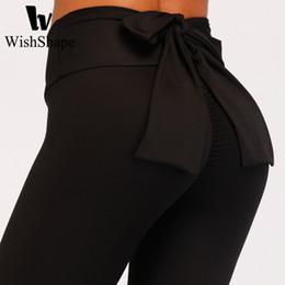 Calzamaglia rossa online-Leggings sexy dell'arco Pantaloni sportivi solidi atletici Donne Pantaloni da corsa rossi Pantaloni da yoga a vita alta Legging elastico di fitness