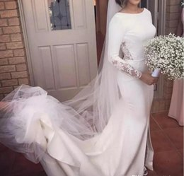 Wholesale vintage bridal wear - Vintage Long Sleeves Wedding Dresses Beach Wear Sweep Train Lace And Satin Backless Wedding Dress Simple Front Split Mermaid Bridal gowns