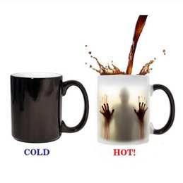 Wholesale Porcelain Markings - 350ml Color Changing Mug Walking Dead Zombies Mugs Thermo Reaction Temperature Discoloration Mark Cup Milk Coffee Cups 16 Color
