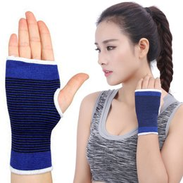 Wholesale Fingerless Elastic Gloves - Newest Elastic Brace Gym Sports Support Wrist Gloves Hand Palm Gear Protector For Volleyball Basketball Support FBA Drop Shipping G911Q