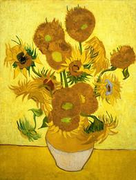 Sonnenblumenbilder drucken online-Van Gogh Ölgemälde Reproduktion Golden Sunflower Leinwand HD Bild Giclee Print Wand Kunst Modern Home Decor Ungerahmt oder Gerahmt HT80