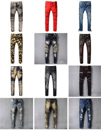 Wholesale Black Hole Size - Distressed France Fashion Pierre Straight Jeans Men's Biker Jeans Hole Stretch Denim Casual Jean Men Skinny Pants Elasticity Ripped Trousers