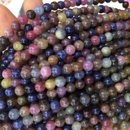 "Wholesale Genuine Blue Sapphire - Natural Genuine Multi-Color Red Purple Blue Ruby Sapphire Round Loose Beads 4-18mm DIY Jewelry Necklaces or Bracelets 15"" 04072"