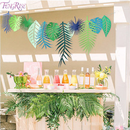 Deutschland Großhandel 3M Flamingo Blume Banner tropischen Blatt Papier Garland für hawaiische Luau Geburtstag Party Dekoration Sommer Strand liefert supplier wholesale hawaiian garland Versorgung