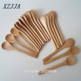 Wholesale Wholesale Honey Spoons - 20pcs  Lot 5inch Wooden Spoon Ecofriendly Japan Tableware Soup Scoop Coffee Honey Tea Round Head Spoon Stirrer Free Shipping