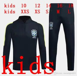 Wholesale Football Training Pants Tight - KIDS 2017 Brazil tracksuit training suits Uniforms Chandal 16 17 NEYMAR JR child football tracksuit Survetement long sleeve tight pants