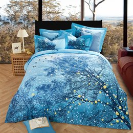 Wholesale Thick Cotton Sheets - New winter style thick cotton fabric tree print blue color Bedding set Queen King size 4pcs Duvet cover Bed sheet set bed linen