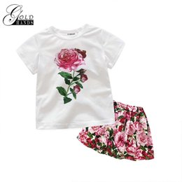 Wholesale Pink Rose Brand Dress - Girls Clothing Sets Summer Fashion Style Flower Printed T-Shirts+TUTU Dress 2Pcs Girls Pink Rose Clothes Sets Kids Clothing Suit