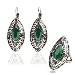 Wholesale emerald diamond gold rings - Ring&Earring Jewelry Sets - Green Diamond Sliver Plated 53~62cm Circumference Rings Alloy Gemstone Punk Resin Dangle Chandelier