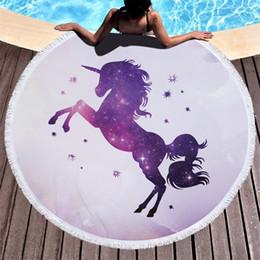 Wholesale wholesale cartoons face towel - Unicorn Beach Towel Superfine Fiber Cartoon Printing Tassels Shawl Outdoors Sports Swimming Yoga Mat Many Styles 32jm Y