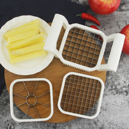 tallos de fresa de plastico Rebajas 3 unids \ set Apple Cutter Machines Slicer Vegetal Cuchillo Multifuncional Fruta Patatas Fritas Manual Strip Chopper Herramientas de Cocina
