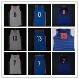 Wholesale Basketball Jersey Kids - 2017-18 New Men's Women's Youth Jersey 0 Westbrook 7 Anthony 13 George Blue White 2018 Kids Mens Womens City Stitched Basketball Jerseys
