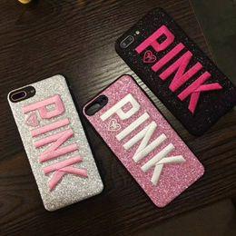 Rosa lg teléfonos online-Moda PINK Funda de teléfono Funda protectora de silicona con purpurina 3D Fundas protectoras para iPhone X XS MAX XR 6S 8 Plus Samsung S8 S9 Plus
