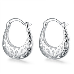 Wholesale Real Hoop Earrings - whole saleretro real pure 925 stamped silver plated female fashion jewelry hollow flower classic earrings for women