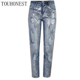 Вышитая блестка онлайн-Touhonest 2018 Autumn Women Loose Straight Metallic embroidered  Sequins Holes Denim Pants  Casual Holes Jeans