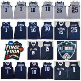 NCAA Basketball Final Four Villanova Wildcats Jersey 1 Jalen Brunson 10  Donte DiVincenzo 25 Mikal Bridges White Navy Champions RVM Patch Men  basketball ... 99c17b58e