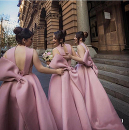 Wholesale Big Size Chart - 2018 Cheap Blush Satin Ankle Length Wedding Party Guest Dresses Bridesmaid Dress Halter With Big Bow Back 16 Sweet Formal Gown
