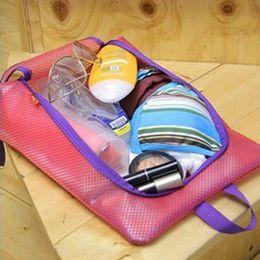 sacchetto di viaggio in maglia nylon Sconti Borsa di stoccaggio impermeabile nylon mesh scarpe portatili lavanderia custodia custodia Hang Outddor borsa da viaggio Tote di alta qualità 3 colori NNA618 200 pz