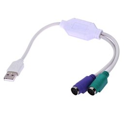 Wholesale Ps2 Usb Mouse Adapter - 31cm USB to PS2 PS 2 Mouse Keyboard Converter Cable Cord Wire Line Adapter Support Two PS2 Keyboard or Two Mouse
