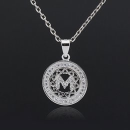 Wholesale Sterling Silver Initials - Italy Cute Christmas Gift Alluring Elegant M Letter Pendant Necklace With Top Quality AAA Zirconia