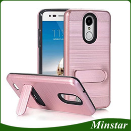 Wholesale mint brushes - Card Holder Cover Case For LG Stylo 4 K10 2018 Aristo 2 LV3 Stylo 3 LS777 Coolpad Revvl Plus C3701 ZTE Blade Force Metal Brushed Kickstand