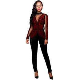 acf0a1f9d41 2017 Womens Rompers Winter Autumn Club Party Black Red Blue O-neck Hot  Drilling Long Mesh Sleeves Bodycon Jumpsuit Plus Size