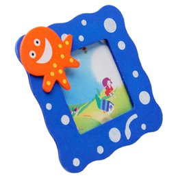 Wholesale Photo Toys - 1PC Hot Sale Colored Wooden Cartoon Photo Frame Baby Gift Toy Home Decoration