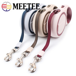 Wholesale retractable dog leash large - 2018 NEW MEETEE Polyester dog leash twin color pet automatic retractable leash 3 meters. DC-405