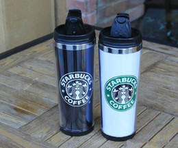 Wholesale mug lid starbucks - Fashion Cup Starbucks Double Wall Stainless Steel Mug Flexible Cups Coffee Cup Mug Tea   Travelling Mugs Tea Cups Wine Cups in stock thermo