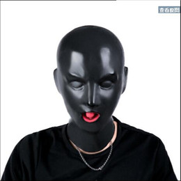 Wholesale hot sexy toy - Wholesale- Free Shipping! New Arrival Hot 3D Latex Human Mask Hood Closed Eyes Fetish Hood Red Mouth Sheath Tongue Nose Tube Sexy Adults Toy