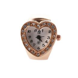 Wholesale stretching rings - Fashion Women's Girls Crystal Rhinestones Decor Heart Shaped Housing Stretch Elastic Band Mini Quartz Finger Ring Watch (Copper)